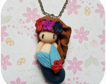 """Necklace little girl """"brown hair, blue Mermaid tail"""" (Mermaid collection)"""