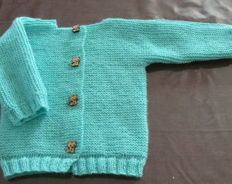 Waistcoat turquoise baby for 0/3 month old.