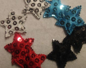 Set of 8 badges star fabric