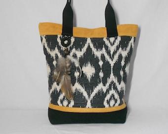 bag Tote/ethnic/Black/Yellow/gift idea