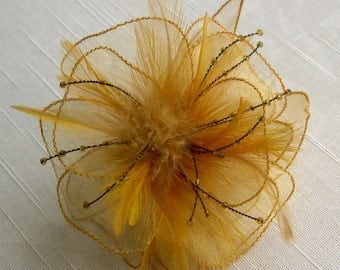 Yellow organza flower brooch, feathers and beads