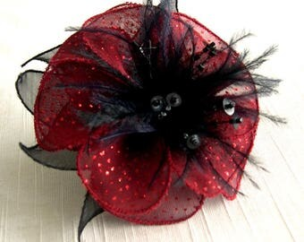 Red sequin organza flower brooch, feathers and beads