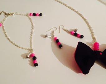 Fancy bracelet pink and black beads