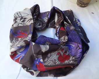 Scarf silk printed in shades of taupe dark blue and Burgundy