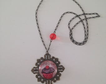 """Necklace cabochon """"cherry & chocolate cupcake"""""""