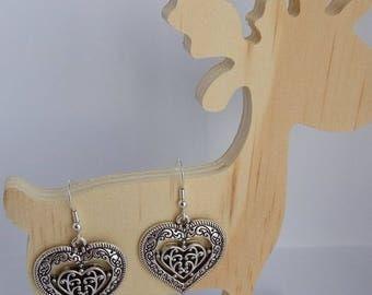 Silver - heart - nickel free hook - earrings