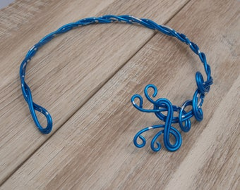 Silver Heather turquoise aluminum wire braided Choker