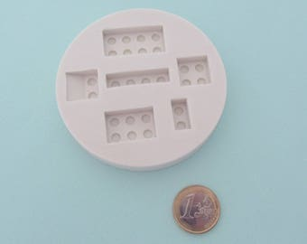 Miniature silicone mold - Construction bricks (lego) - For polymer clay, resin, cold porcelain, etc.