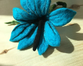 Turquoise Felted Wool Brooch Hand Made Unique