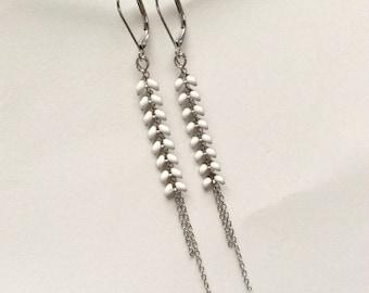 Earrings, ear chain enameled, silver and white