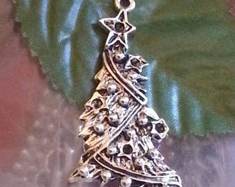 1 cabochon pendant made of alloy, nickel and lead free, antique silver Christmas tree, 47x21.5x4 mm