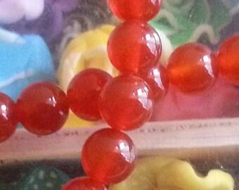 20 8 mm, hole 1 mm diameter carnelian beads