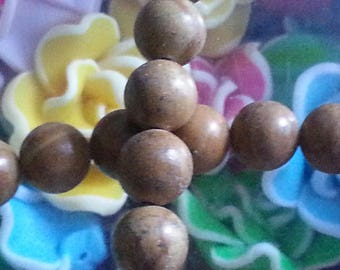 10 pearls of wood lace stone, round, 8 mm in diameter, hole: about 1 mm