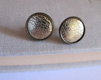 Stud Earrings gold leather fabric