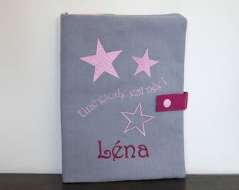 Health booklet protection cover embroidered with stars (color choices) and personalized