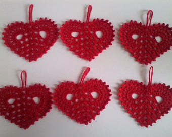Christmas tree decoration: handmade crochet 6 red hearts
