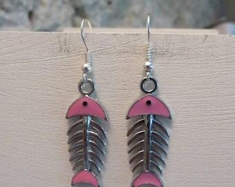 Sugar skull pink fish earrings