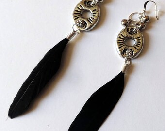 Black feathers on silver in-between earrings