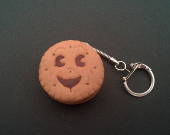 Gourmet mini Keychain BN smiling polymer clay