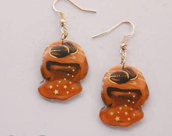Earrings caramel fudge, cookie, gold stars