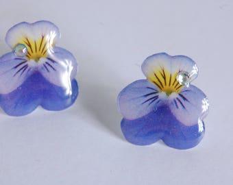 Simple Stud Earrings violet Pansy