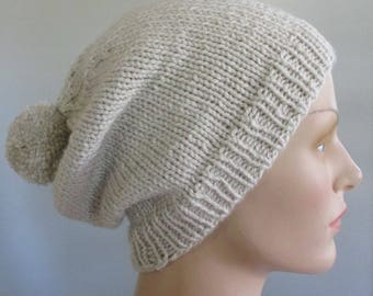 Knit slouchy handmade hat - slouch beanie hat