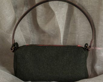 dark green felted wool and leather handbag