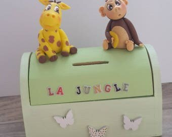 The jungle with a monkey and a giraffe cold porcelain piggy bank / fimo boy or girl