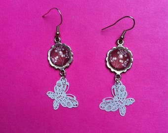 cabochon red and white butterfly earrings