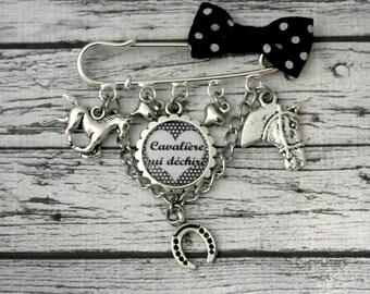Brooch pin Cavalier custom cabochon, passion, horse riding horse