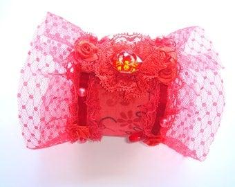 salsa lace satin rhinestone button Cuff Bracelet