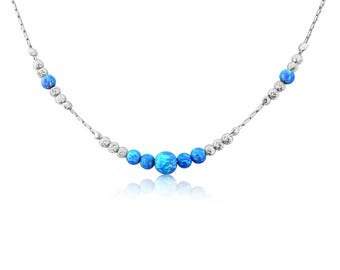 Sparkling Silver Opal Necklace