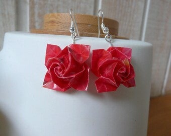 Origami paper roses red layer earrings