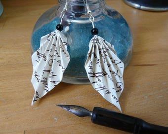 Origami earrings vintage handwriting paper sheets
