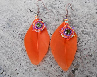 """Earrings with feather and pearls """"Helena"""""""