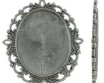 Support Cabochon retro 3 x 4 cm silver