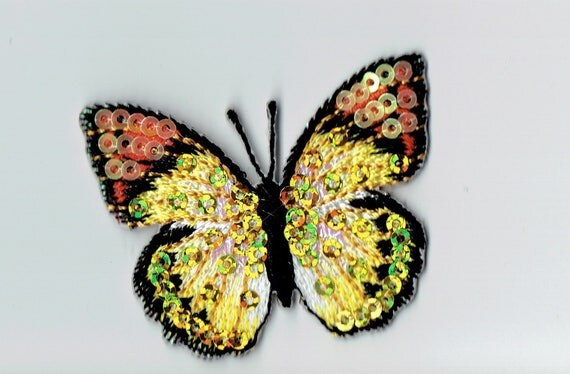 """Patch fusible trend pattern """"Yellow sequin Butterfly"""""""