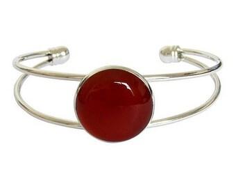 Silver plated cabochon bracelet - carnelian