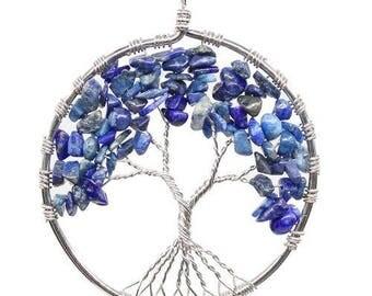 Tree of life silver plated pendant - lapis lazuli