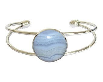 Bracelet silver plated - blue chalcedony cabochon