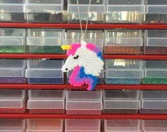 Pixel Art handmade mini hama Unicorn pendant