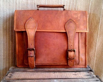 Briefcase in leather, leather bag, laptop bag, laptop bag, vintage, leather man bag, woman leather bag satchel