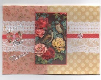 111 - Greeting card celebrates mother birds and roses