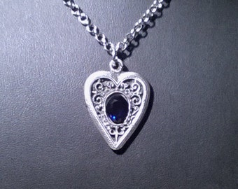 Sterling silver filigree heart w lab grown sapphire