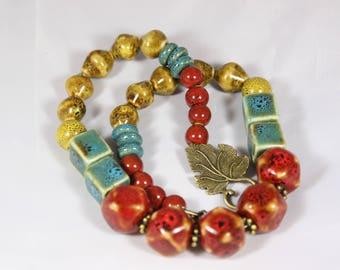 beautiful multicolored ceramic beads, 50 cm necklace