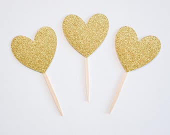 heart cupcake toppers, gold toppers, baby shower, birthday decor, wedding cupcake, heart toppers, gold glitter hearts, glitter toppers