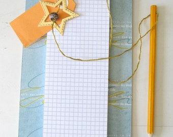 Blue and orange Notepad