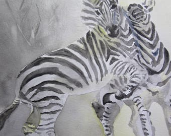 Watercolor gray and yellow two zebras