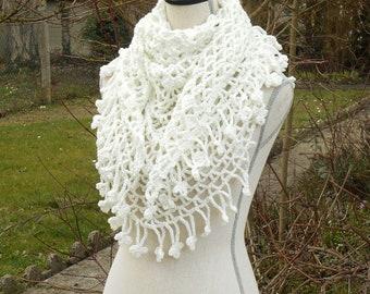 White shawl crochet shawl ceremony: wedding, baptism...