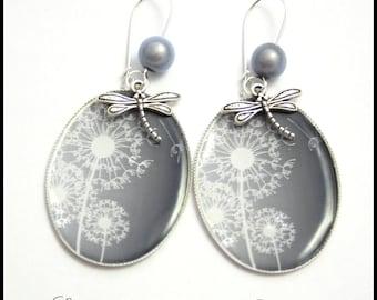 Dandelion flower and Dragonfly earrings
